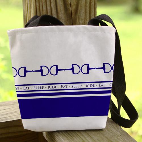 eat sleep ride horse bit striped pattern tote bag