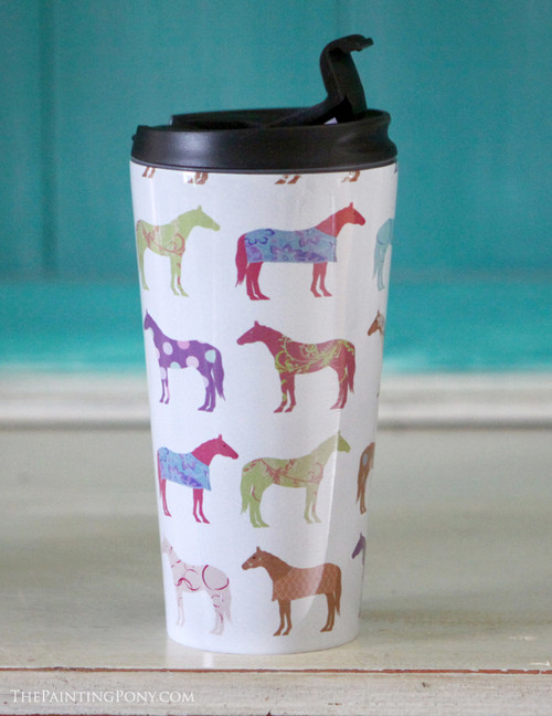 Fun Horse Pattern Travel Tumbler 15oz