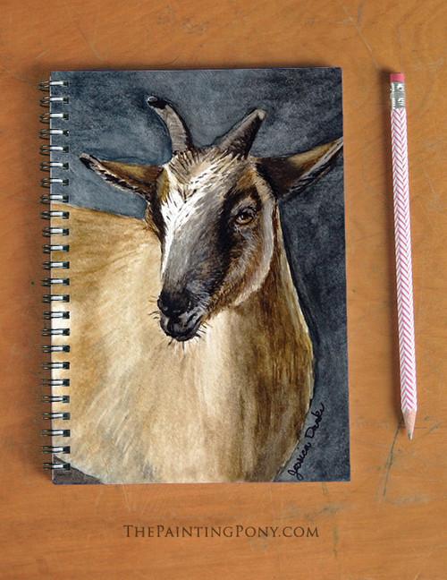 Cute Brown Pygmy Goat Art Spiral Notebook