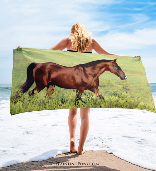 Bay Horse Equestrian Beach Towel