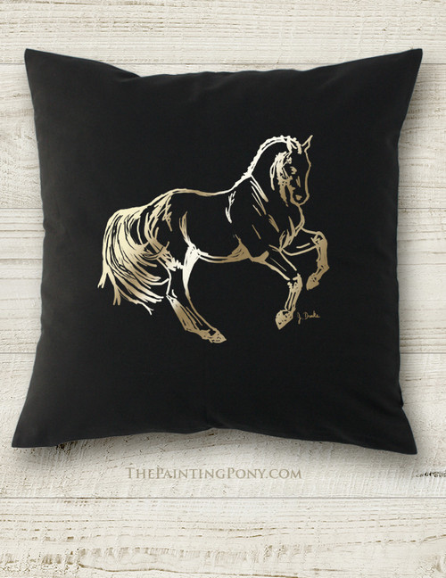 Metallic Foil Printed Dressage Horse Square Pillow