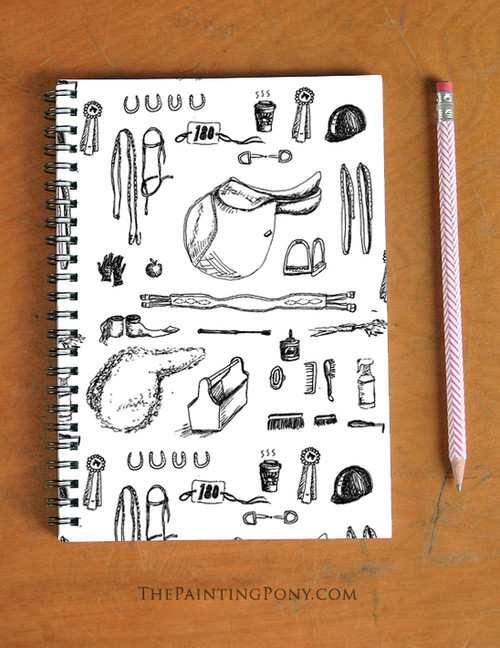 Hunter Jumper Horse Show Essentials Pattern Spiral Notebook