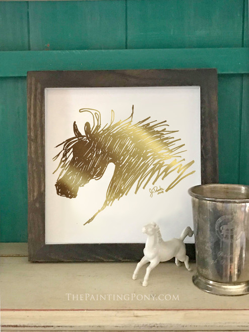 Metallic Gold Foil Abstract Horse Head Art Print