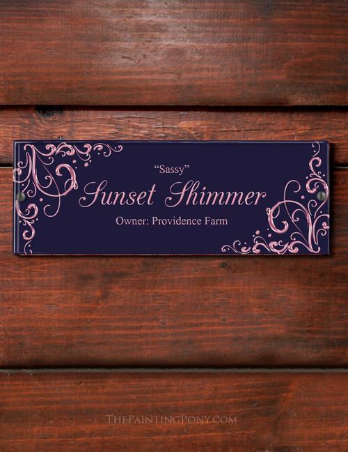 Elegant Corner Accent Custom Acrylic Horse Stall Name Plate