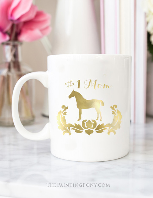 Personalized Damask Horse Gold Foil Coffee Mug