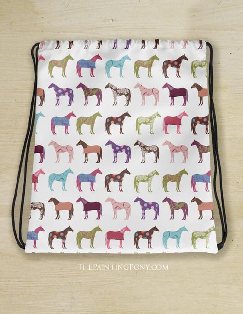 Fun Horses Pattern Drawstring Gym Tote Bag