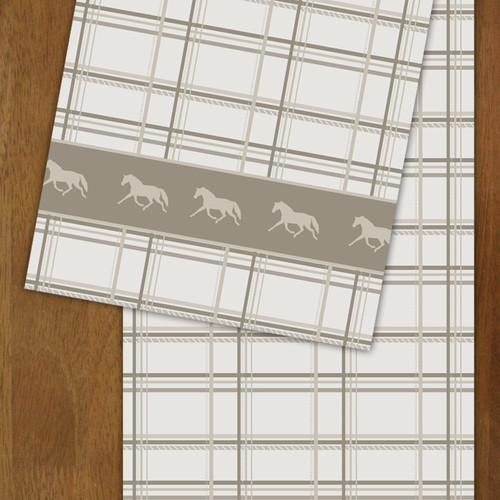 Neutral Plaid Horse Patterned Table Runner
