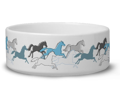 Blue Galloping Horses Pet Bowl