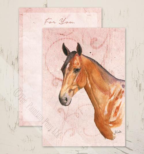 Equestrian Horse Valentineu0027s Day Flat Note Card