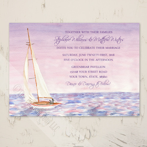 Sail Boat Watercolor Nautical Wedding Invitation (10 pk)