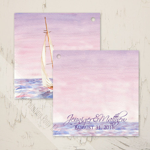 Sail Boat Watercolor Nautical Wedding Gift Tags (25 pk)