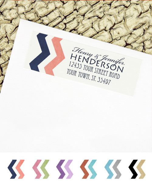 Navy and Coral Zig Zag Wedding Return Address Labels