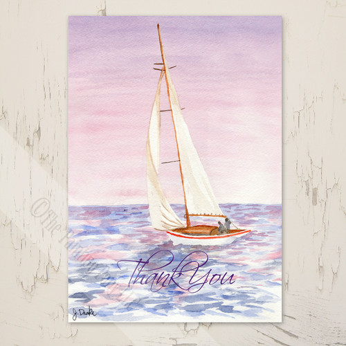 Sail Boat Nautical Thank You Note