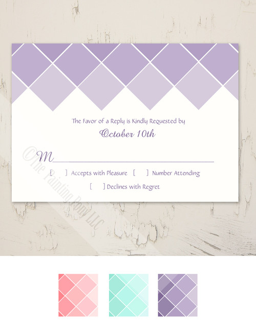 Purple Ombre Wedding RSVP card (10 pk)