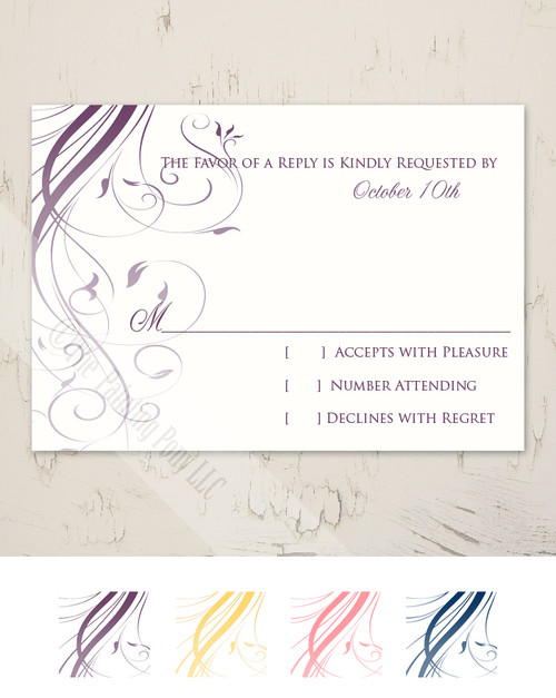 Ombre Flourish Wedding RSVP card (10 pk)