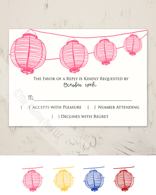 Garden Lanterns Wedding RSVP card (10 pk)