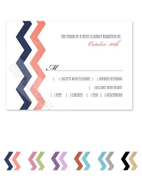 Blue and Pink Zig Zag Wedding RSVP card (10 pk)