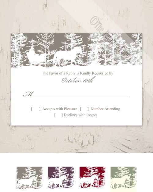Horse Sleigh Winter RSVP card (10 pk)