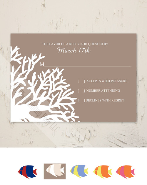 Tropical Coral Beach Wedding RSVP card (10 pk)