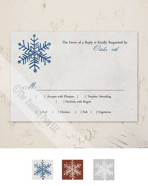 Simple Snowflake Wedding RSVP card (10 pk)