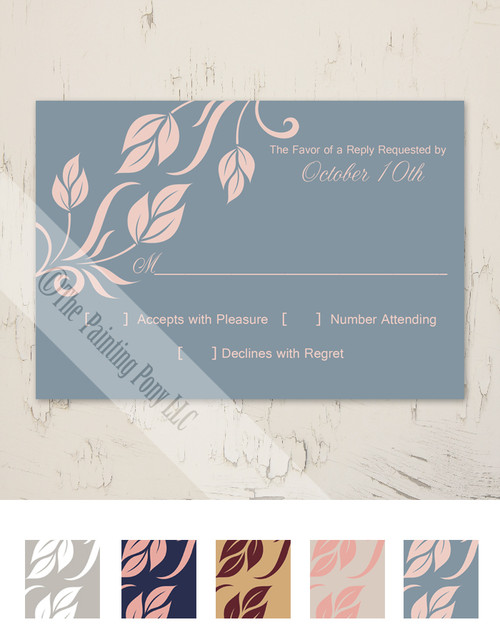 Side Leaves Flourish Wedding RSVP card (10 pk)