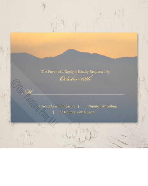 Mountain Sunrise Wedding RSVP card (10 pk)