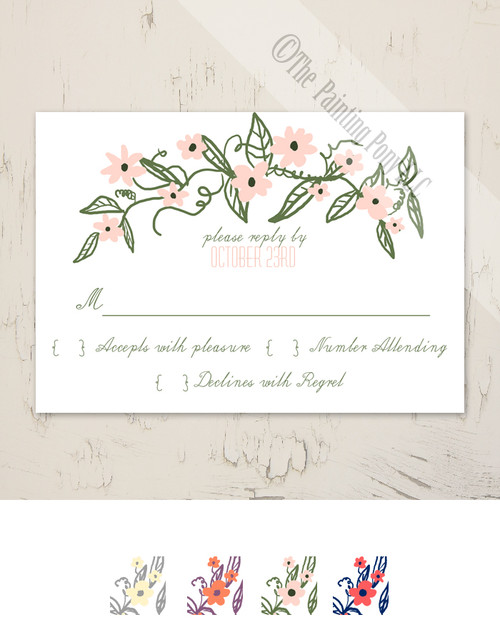 Floral Banner Wedding RSVP card (10 pk)