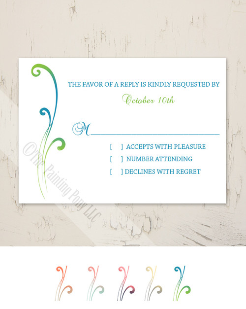 Color Blended Swirls Wedding RSVP card (10 pk)
