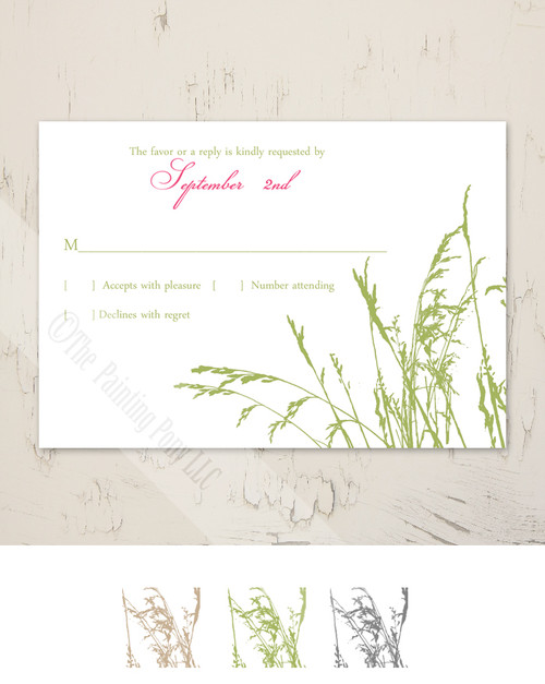 Sea Grass Beach Wedding RSVP card (10 pk)