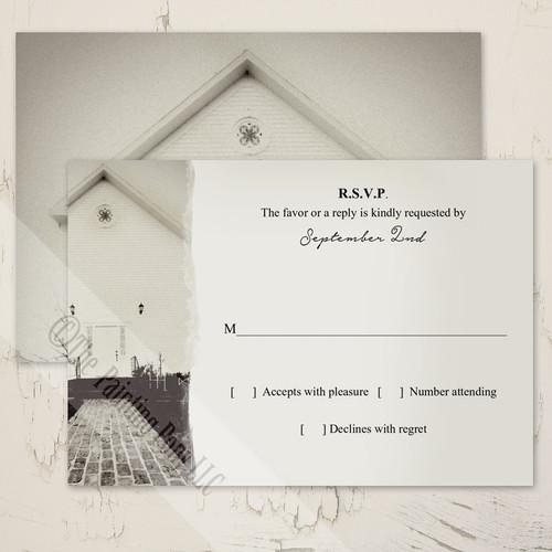 Vintage Old Church Wedding RSVP card (10 pk)