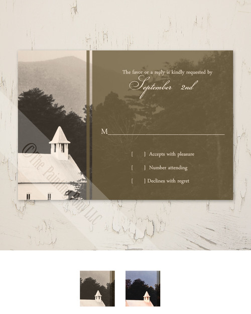 Rustic Old Mountain Church Wedding RSVP card (10 pk)