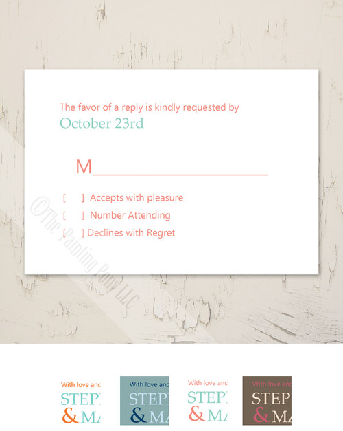 Teal Blue and Orange Modern Photo Wedding RSVP card (10 pk)