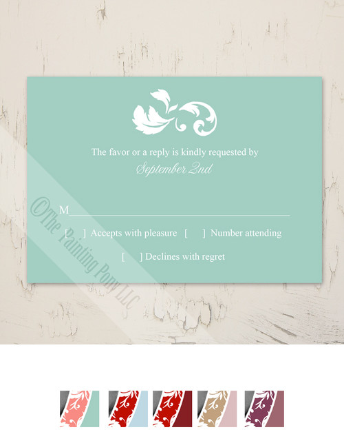 Damask Border Photo Template Wedding RSVP card (10 pk)