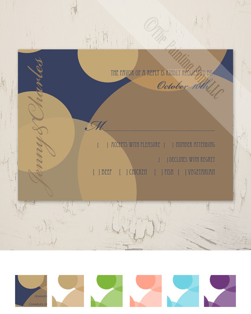 Gold and White Bubbles RSVP card (10 pk)