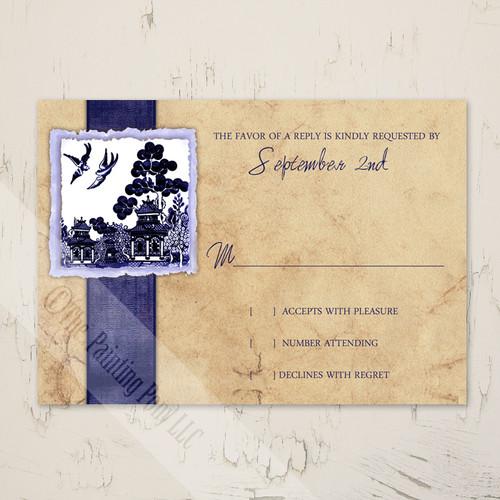 Asian Garden Love Birds Wedding RSVP card (10 pk)