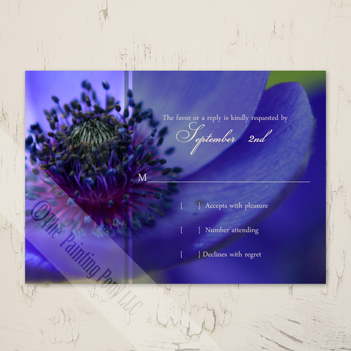 Blue Poppies Wedding RSVP card (10 pk)