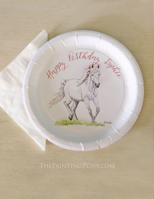 Whimsical White Pony Themed Paper Party Plates (8 pk)