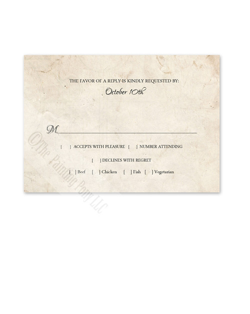Rustic Vintage Photo Frame Wedding RSVP card (10 pk)