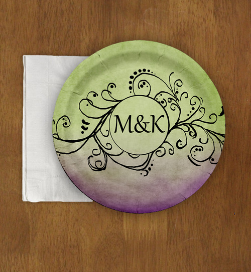 Purple and Green Bohemian Wedding Custom Paper Party Plates (8 pk)