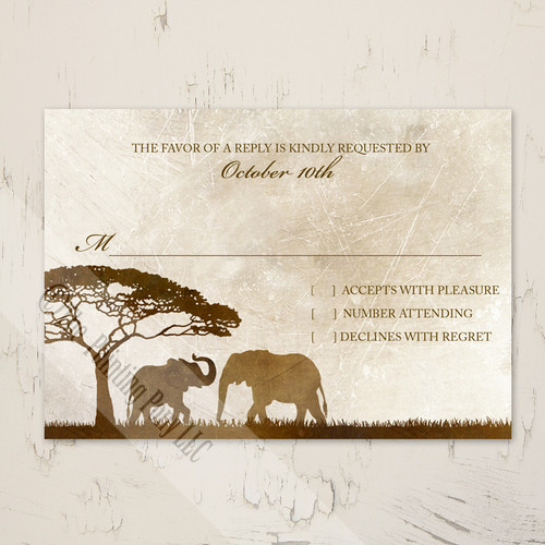 African Elephants Zoo Wedding RSVP card (10 pk)
