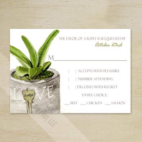Potted Succulent Watercolor Wedding RSVP card (10 pk)