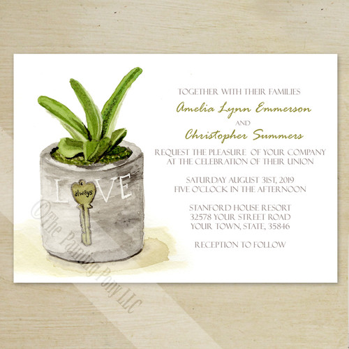 Potted Succulent Watercolor Wedding Invitation (10 pk)