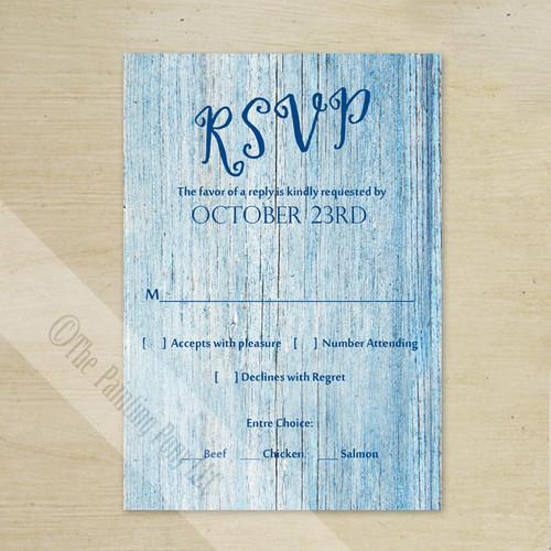 Blue Country Wood Grain Wedding RSVP card (10 pk)