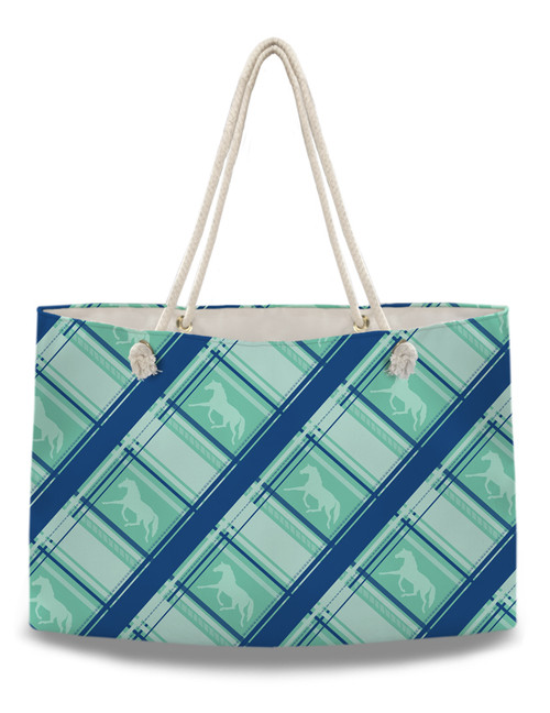 Teal Blue Plaid Horse Pattern Weekender Tote Bag