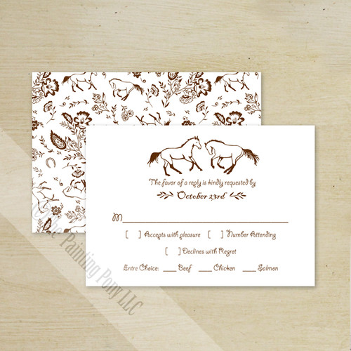 Country Floral Horses Wedding RSVP card (10 pk)