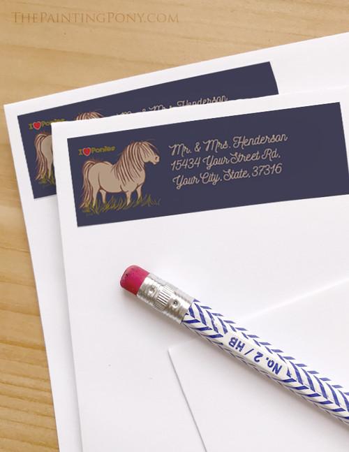I Love Ponies Return Address Labels