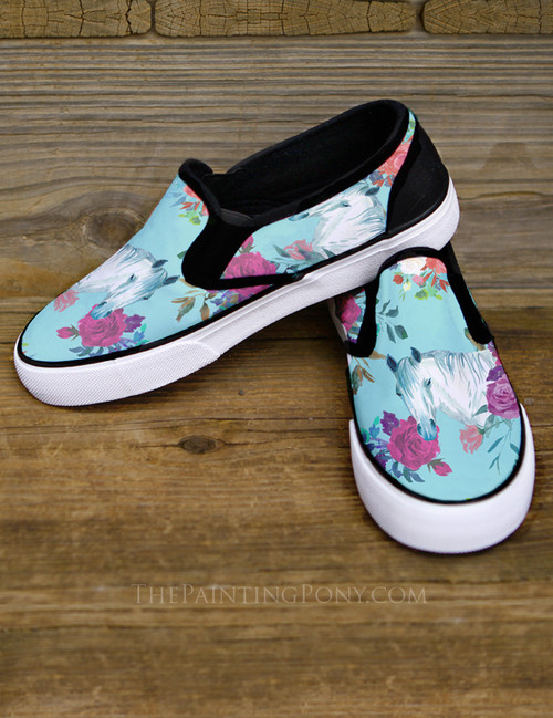 Horse Head Rose floral Pattern Equestrian Slip On Shoes