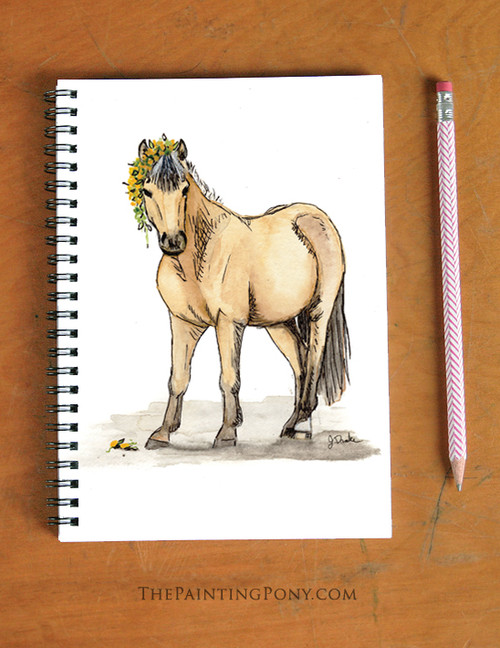 Cute Buckskin Pony with Dandelions Watercolor Art Spiral Notebook
