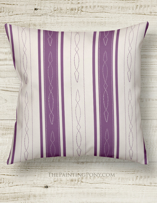 Purple Horse Bridle Pattern Striped Equestrian Throw Pillow