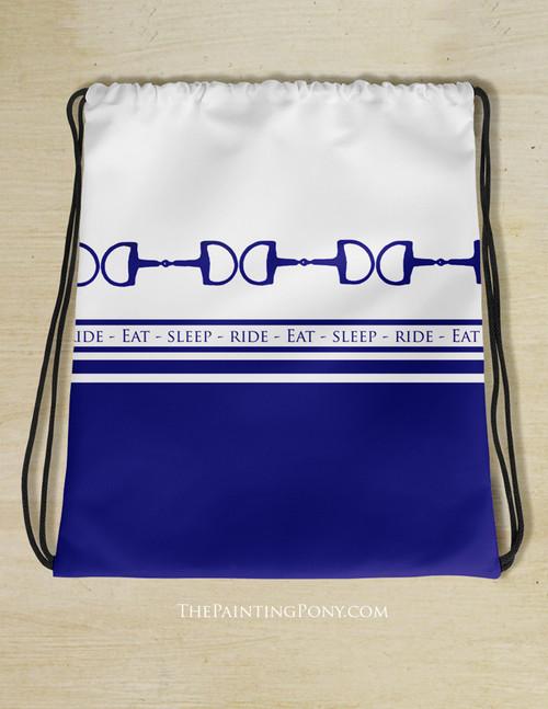 Eat Sleep Ride Equestrian Drawstring Gym Tote Bag